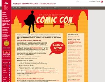 Cincinnati Library Comic Con 2014 Webpage