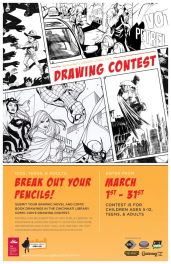 Cincinnati Library Comic Con 2014 Drawing Contest Poster