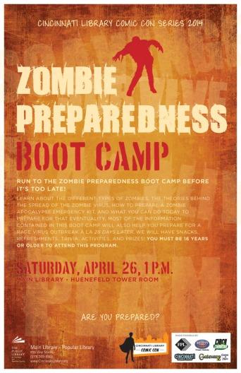"""Cincinnati Library Comic Con """"Zombie Preparedness Boot Camp"""" Program Poster"""